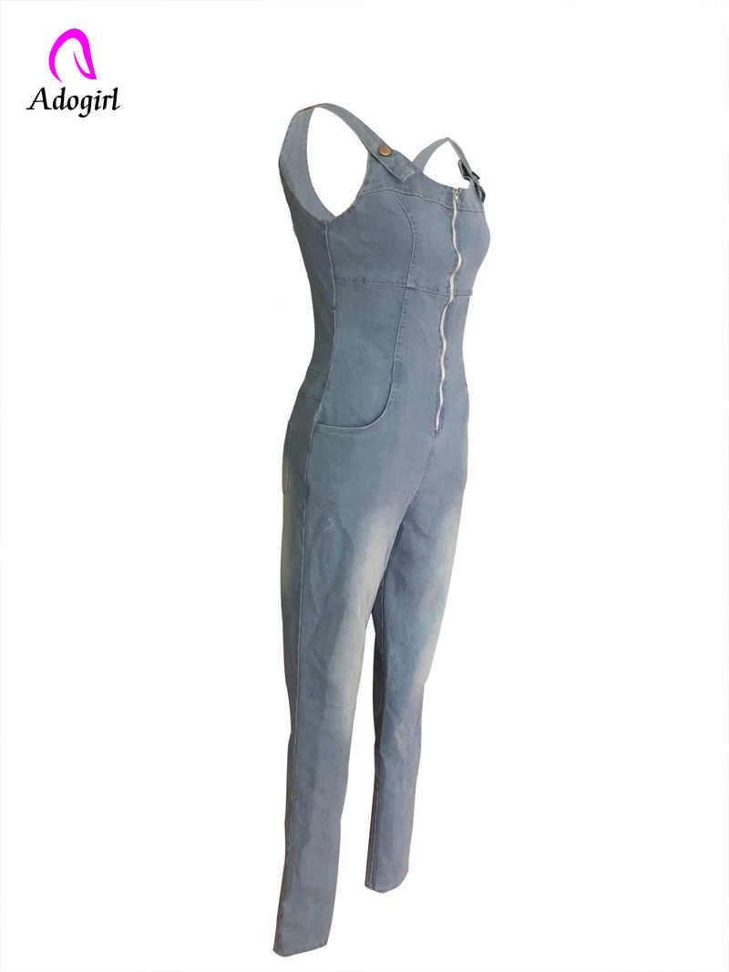 Глубокий V джинсовые комбинезон женщин длинные брюки без рукавов с открытой спиной молния карман синий комбинезоны спереди молния повязки Обтягивающие Комбинезоны
