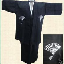 Free Shipping Black Traditional Japanese Men's Warrior Kimono Haori Yukata One Size B0002&