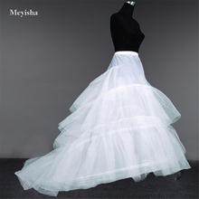 ZJ52015 Wedding Dress Crinoline Bridal Petticoat Underskirt 2 Hoops with Chapel Train