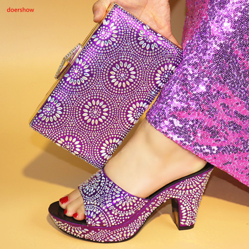 doershow High Quality Italian Shoes With Matching Bags Latest Rhinestone African Women Shoes and Bags Set For Wedding HBV1-5