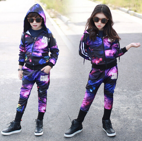 2016 spring Autumn children's clothing set Costumes cosmo galaxy print Hip Hop dance pants & sweatshirt kids  suits twinset 2016 kids adults spring summer geometric star set black costumes hip hop dance pants