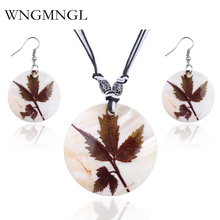 WNGMNGL 2018 Vintage Geometric Shell Painted Leaves Jewelry Sets Women Fashion New Drop Earrings & Pendant Necklace Set