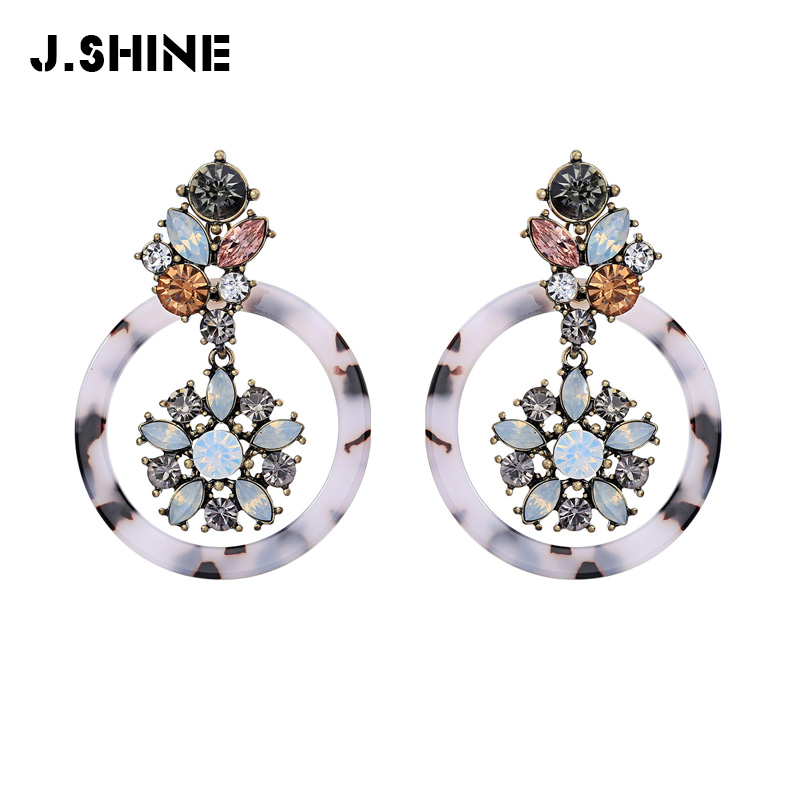 JShine 2019 Dangle Earrings Vintage Statement Earrings Tortoiseshell Earrings Acetate Resin Round Flower Large Earring Female