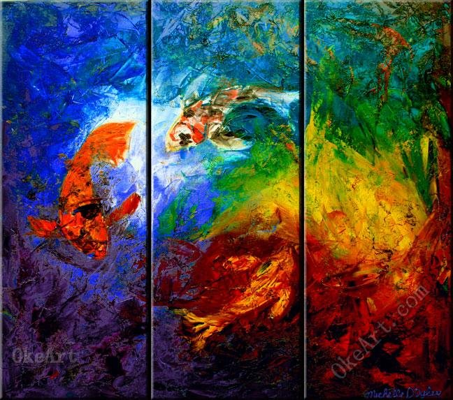 Buy the three koi oil painting on canvas for 3 panel painting