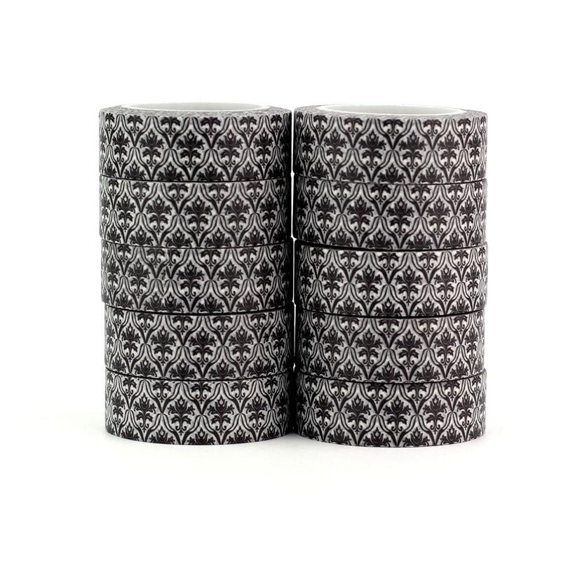 10pcs/lot Abstract Black White Flower Washi Tapes DIY Decor Scrapbook Planner Adhesive Masking Tape Fingers Kawaii Stationery