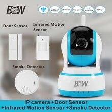 Мини-Мегапиксельная Ip-камера PnP 720 P HD + Датчик Двери Сигнализация + Инфракрасный Motion Sensor + Детектор Дыма Видеонаблюдения камера Wi-Fi BW13B