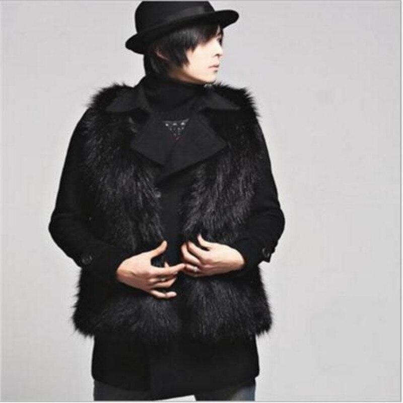 2017 New Fashion Slim designer Harajuku Men's Clothing winter Sleeveless O-Neck Faux Fur jacket Fox Fur Men vest black