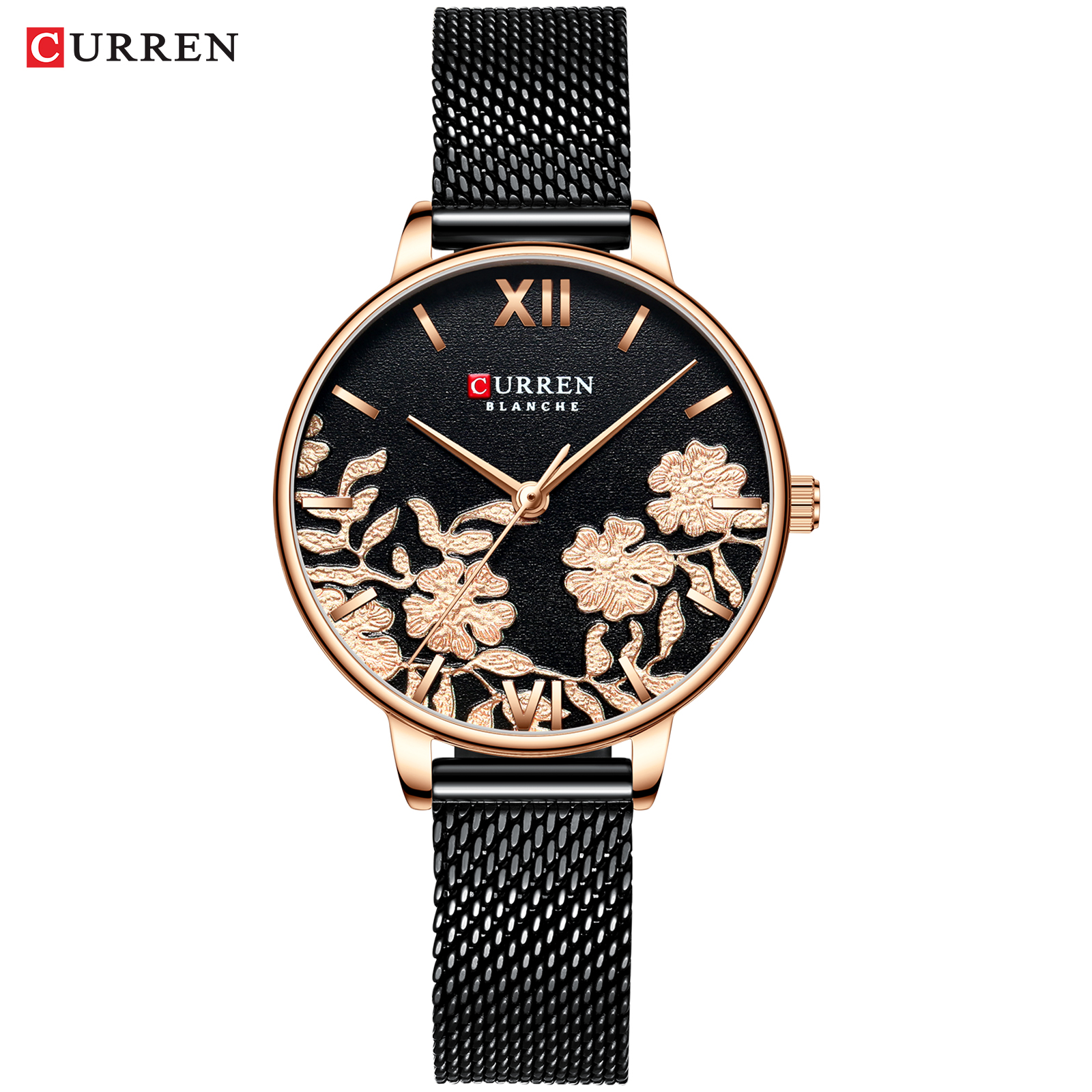 CURREN Women Watches Black Fashion Classy Quartz Stainless Steel And Leather Strap Watch Ladies Relogios Feminino Flower Clock
