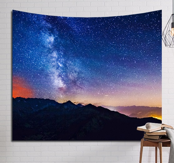Image 2 - CAMMITEVER Psychedelic красивые звезды Звездное небо ткань настенный гобелен Декор шторы из полиэстера плюс длинный стол Крышка-in Гобелен from Дом и животные