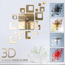 Квадратные DIY зеркальные часы 3D зеркальные часы настенные часы прохладная спальня настенный Декор ТВ фоновое зеркало модные цифровые часы