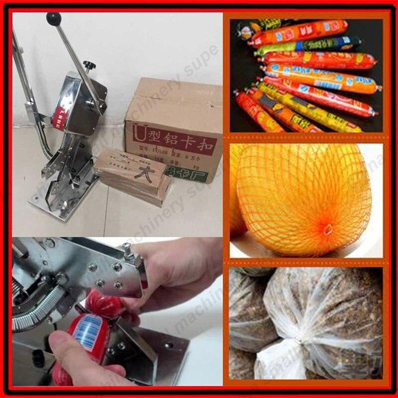 Manual U-shape Single Sausage Clipper Machine; Plastic bag,Fruit Bag tying machine with 4000pcs clipper