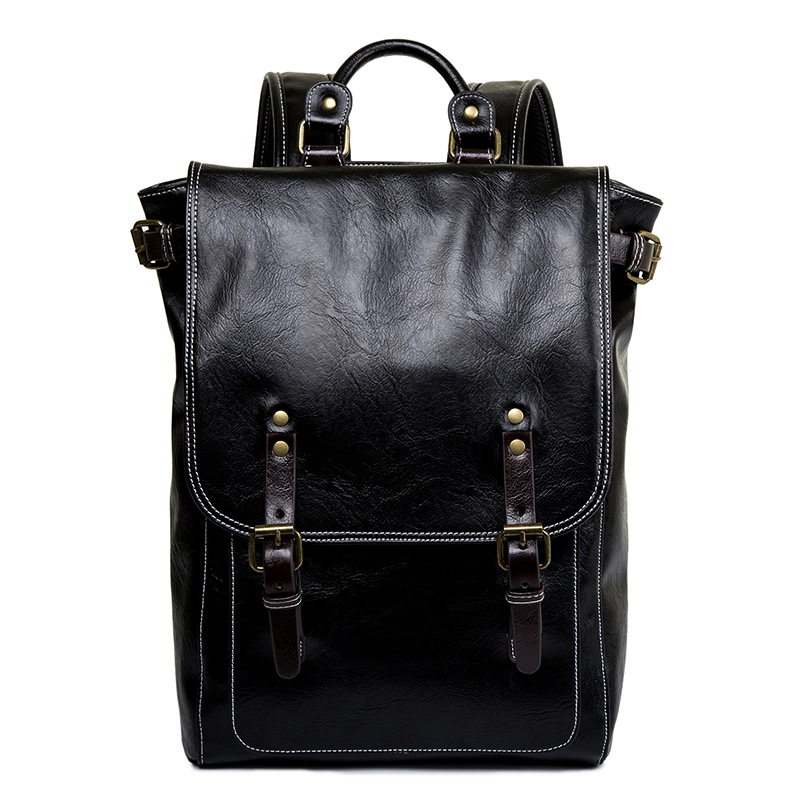 Luxury Brand Vintage Men Backpack For Teenage School Bags Male Large Capacity Laptop Backpacks Leather Black Korean Travel Bags
