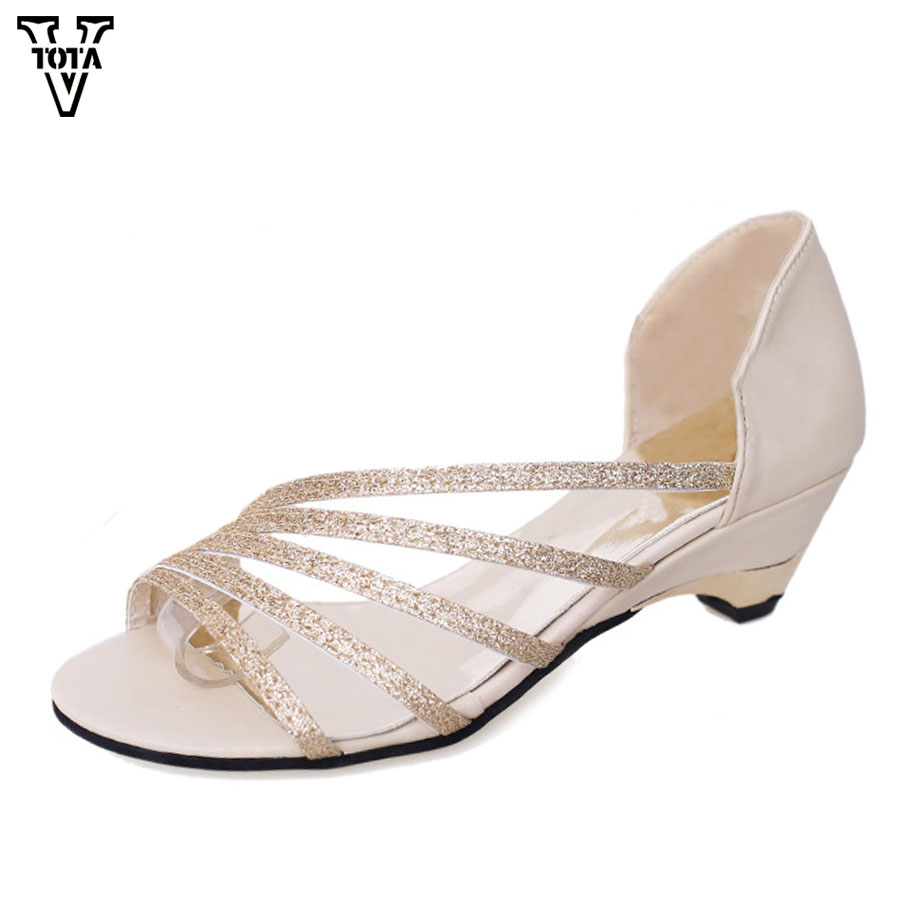 VTOTA Women Shoes Wedges Sandalias Slip-On Summer Bling Hollow Mujer Casual Zapatos FC