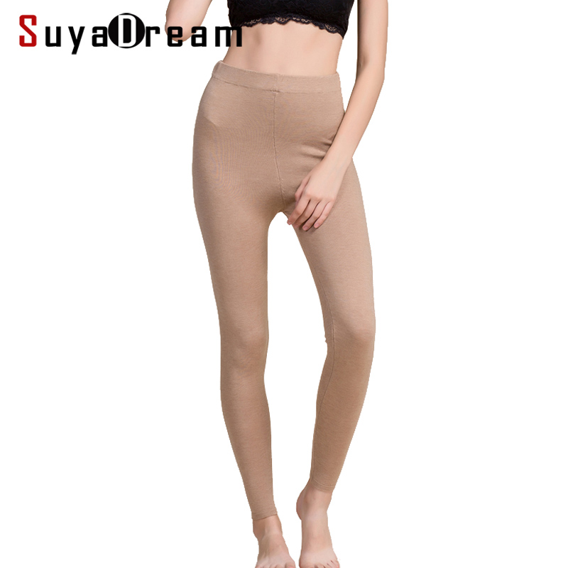 Women Leggings 80%Silk 15%Cashmere 5%Spandex Solid slim leggings Full length bottoming pants 2018 Fall Winter New Black Gray
