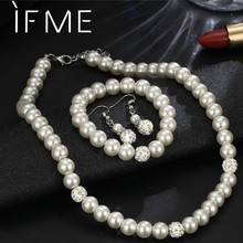 76c09a6ba IF ME Charms Round Crystal Silver Color Mock Pearl Jewelry Sets Necklaces  For Women Bracelets Dangle