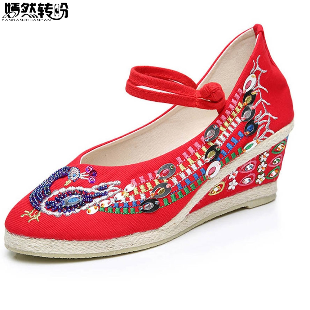 Chinese Women Pumps Red Wedding Shoes For Bride Peacock Embroidery Platform Wedge Shoes Sequin Embroidered Dance Pumps denim embroidered wedge shoes