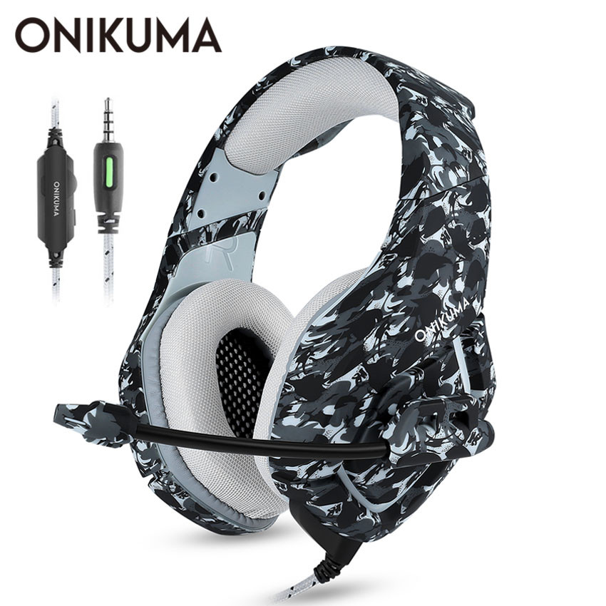 ONIKUMA <font><b>Camouflage</b></font> Stereo Gaming Headset Surround Sound Über-Ohr Kopfhörer mit Noise Cancelling Mic für PS4 Xbox One PC image