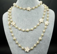FREE SHIPPING>>>@@ 8MM White south sea shell Pearl long Necklace with 18kgp camellia S