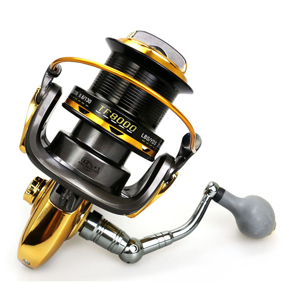 12+1BB 4.6:1 Aluminum Alloy Wire Cup Fishing Spinning Reel Large Capacity Long Distance Casting Sea Reel Handles can Exchange molinete fddl fishing reel 8000 9000 full metal wire cup big long shot sea salt water 5 2 1 spinning reel carretilha pesca