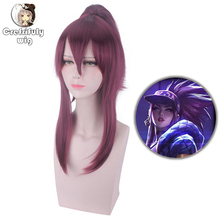 Anime LOL KDA Akali Cosplay Wig The Rogue Assassin Akali Halloween Costume Heat Resistant Synthetic Hair Wigs Women + Wig Cap цена 2017