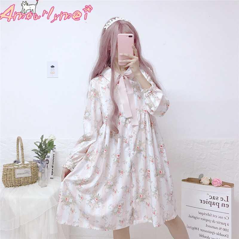 Wanita Vestido 2019 Musim Semi Wanita Jepang Gadis Mori Cute Pink Bow Floral Cetak Lengan Panjang Dres Lolita Kawaii Sweet gaun