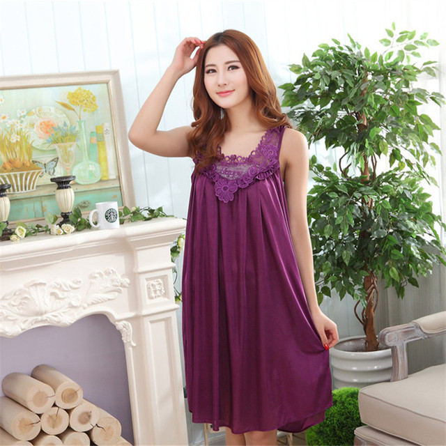 Sexy Womens Long Nightgowns Sleeping Dress Night Gowns Long Sleepwear Lace Silk -7844