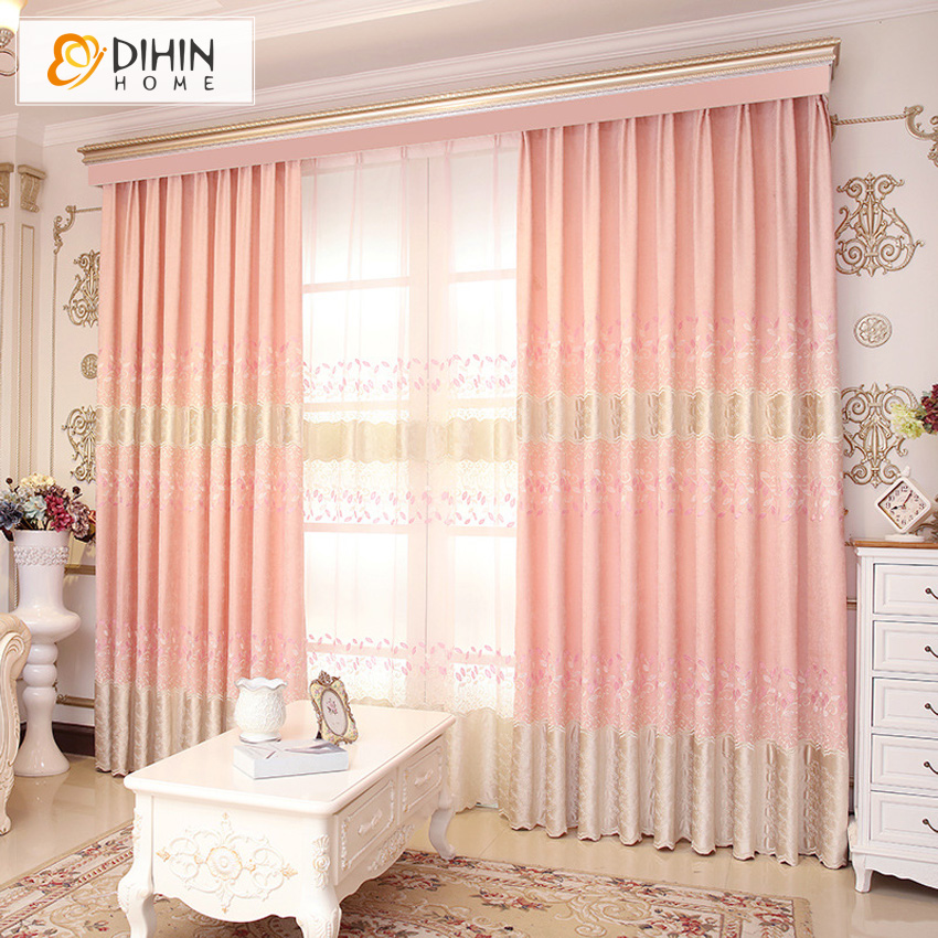 DIHIN HOME Pink Color Luxury European Chenile Embroidered High Quality Curtains For Living Room For Wedding