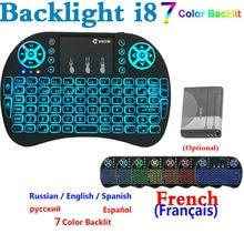 Нормальной и Подсветка mini i8 Клавиатура английский, французский, русский, Испания Иврит Версия с подсветкой 7 цветов I8 клавиатура для Android TV BOX ПК