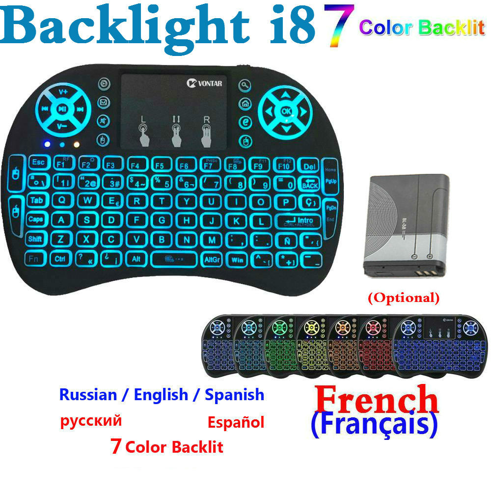Normal And Backlight Mini I8 Keyboard English French Russian Spain Hebrew Version 7 COLOR Backlit I8 Keyboard For Android BOX PC