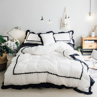 Принцесса оборка Постельное белье кружева промывают хлопок девушки кровать твердой Цвет роскошные постельные принадлежности пододеяльни