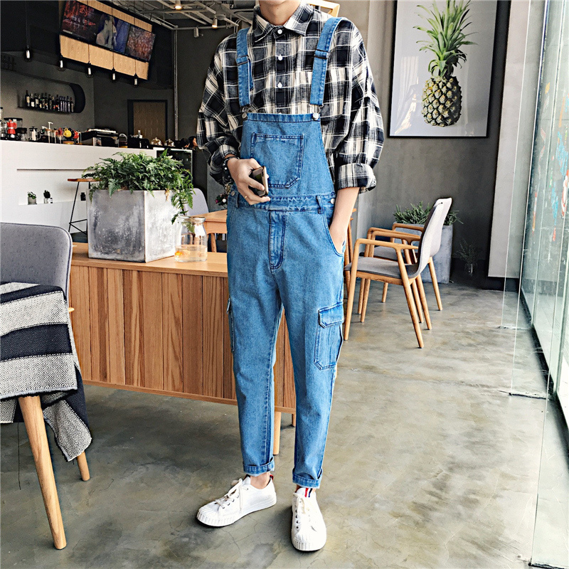 2018 Japanese Style Mens Blue Jeans Sleeveless Coveralls Casual Slim Fit Pants Jumpsuit Rompers Fashion Trousers Overalls M-2XL ...
