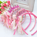 Free shipping New 2014 Girls Hair bands Pearls Resin Diamond Lace Bow Ribbon Crown Princess Children Hair Accessories Hair Band