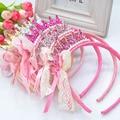 O envio gratuito de Novas 2014 Meninas faixas de Cabelo Pérolas de Resina Diamante Laço de Fita Arco Crianças Coroa Da Princesa Acessórios de Cabelo Faixa de Cabelo