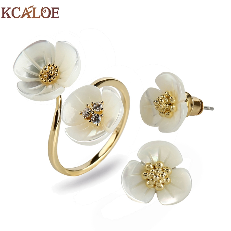 KCALOE Fashion Small Flowers Jewlery Sets For Women Gold Color Costume Jewelry Natural Shell Brides Earrings And Ring Set