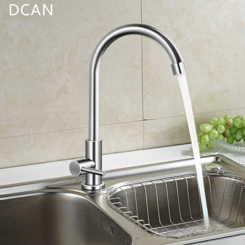 Dcan Easy Install Kitchen Faucet Deck Mount Vertical Cold Water Faucet Single Handle One Hole 360 Degree Rotatable Sink Faucets Kitchen Faucet Water Faucetfaucet Kitchen Aliexpress