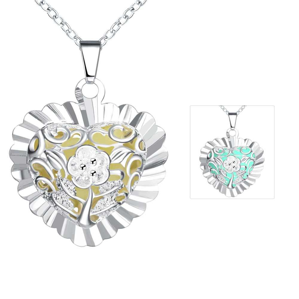 New Style Hollow Heart Pendant Necklace 925 Sterling Silver Heart Flower Necklace Luminous Glow In The Dark Locket Jewelry Gifts