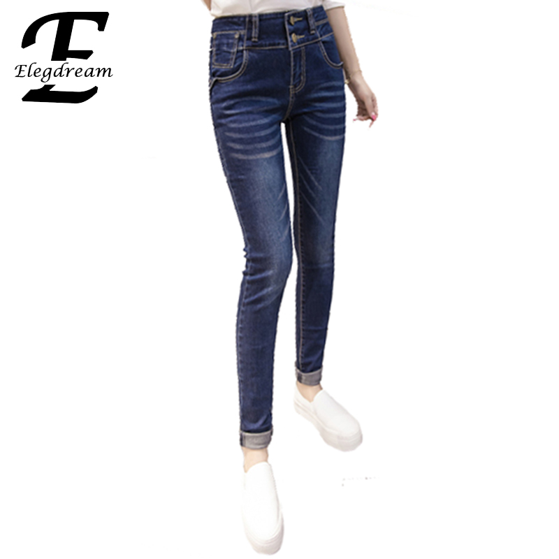 Elegdream New Arrival Casual Jeans for Women Mid Waist Slim Style Elastic Puls Size Denim Pants Female Full Length Trousers 5XL plus size pants the spring new jeans pants suspenders ladies denim trousers elastic braces bib overalls for women dungarees