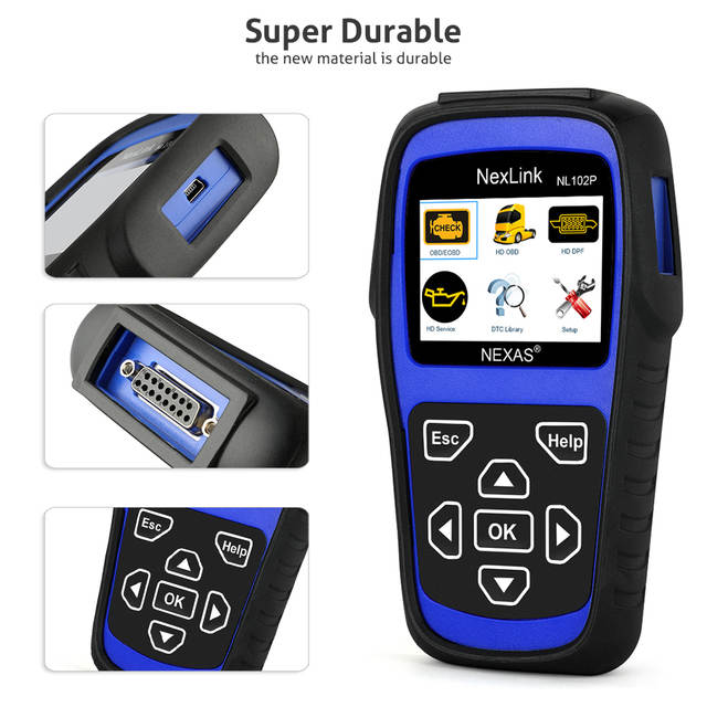 NEXAS NL102P Scanner Truck Diesel Car Diagnostic Tool OBD2 Auto Scanner  Fault Code DPF Oil Reset for Volvo Daf Iveco