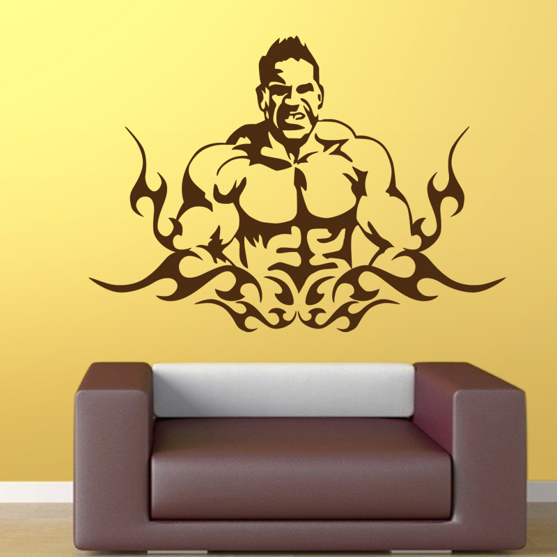 Gym Sticker Fitness Decal Bodybuilding Posters Name Barbell Vinyl Wall Decals Parede Decor Mural 19 Color Choose Gym Sticker-in Wall Stickers from ...