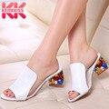 Женские летние сандалии KemeKiss  большие размеры 34-41  разноцветные шлепанцы на каблуке со стразами и открытым носком  2019