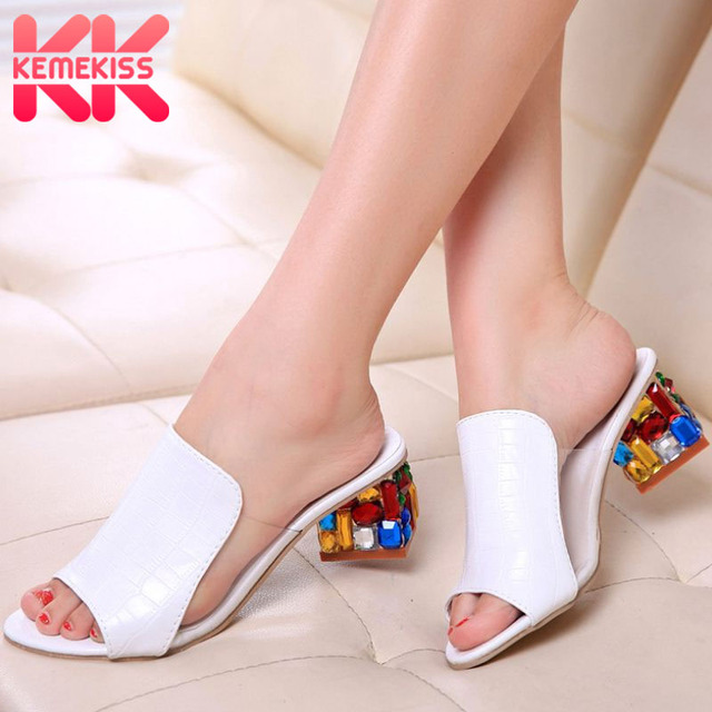 KemeKiss 2019 Brand Large Sizes 34-41 Colorful Rhinestone Crystals Heels Peep Toe Summer Women'S Shoes Woman Sandals Slippers