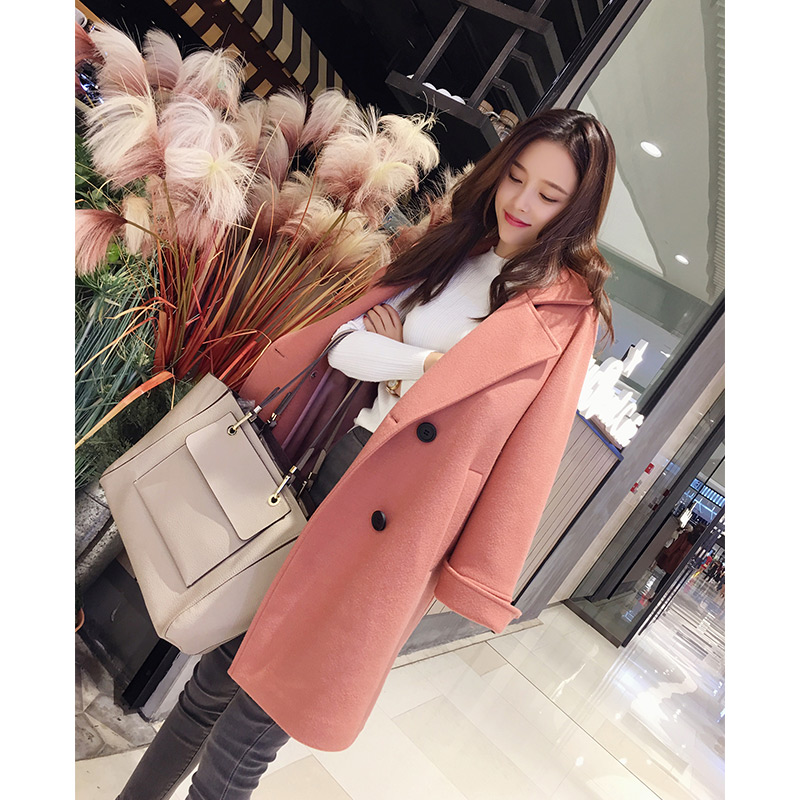 Mishow female overcoat 2018 new collection autumn winter solied long sleeve long Korean clothes Blends woolen