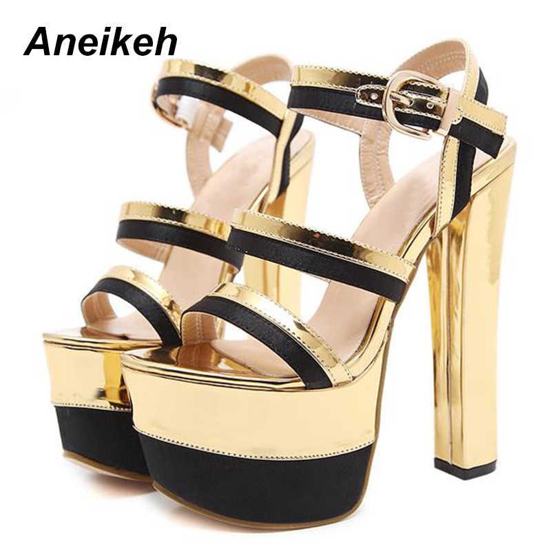 Aneikeh 2018 Yeni Kadın Ayakkabı Sandalet Çelik Boru Dans Ayakkabı Süper Yüksek Topuk 16 cm Peep Toe Kalın Tabanlar Platformları parti ayakkabıları