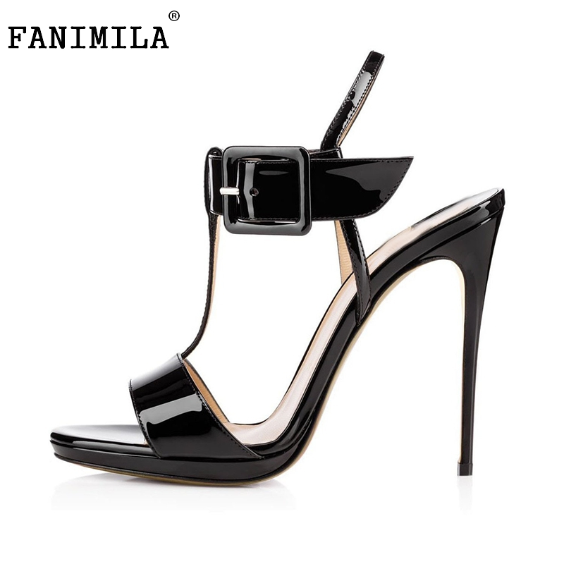 Women High Heel Sandals Peep Toe Ankle Strap Buckle Shoes Ladies Patent Leather Party Dress Sandalias Shoes Size 35-46 B164  shinny patent leather high platform stiletto buckle strap women sandals party dress nude black lady pumps high heel dress shoes