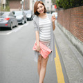 Fashion O-Necked One-piece Maternity Dress Summer Women Dresses Clothes Pregnant Women Striped Cotton Mother Pregnancy Clothing