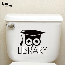 Bibliotheek Boeken Uil Vinyl Wc Sticker Creatieve Cartoon Animal Muurtattoo Home Decor TS018(China)