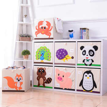 Embroidery Storage Box Cartoon Animal Folding Large Laundry Basket Sundries Children Clothes Book Storage bins kid toy organizer - Category 🛒 Home & Garden
