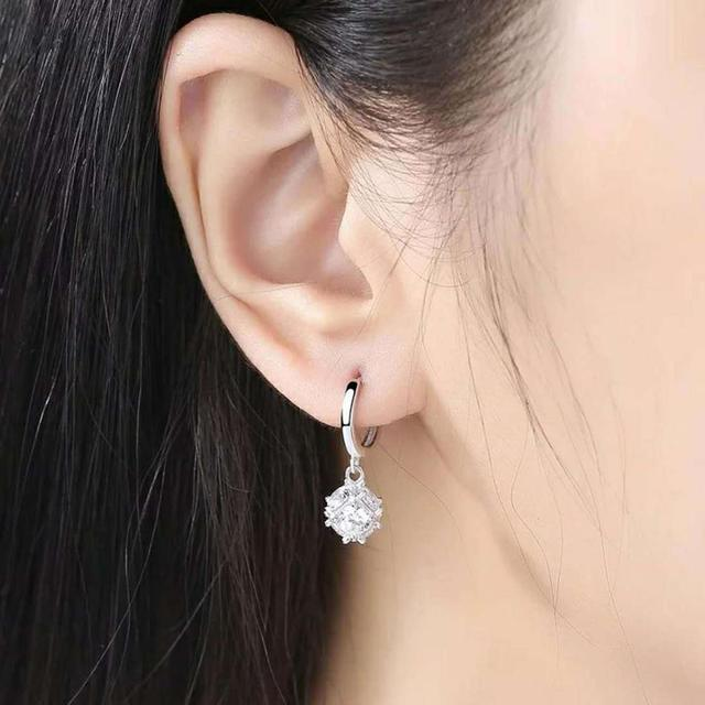 Fashion Geometric Shiny Rhinestone Inlaid Pendant Hoop Earrings Women Jewelry Charm Gift