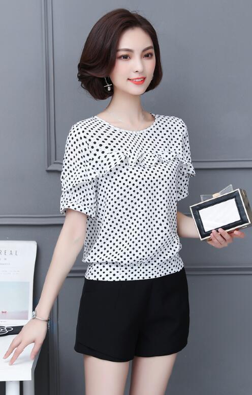 413236928b19 € 11.62 34% de DESCUENTO|Nuevas tapas para Mujer moda 2019 verano Blusa de  gasa Mujer manga corta volantes camisa Blusas Polka Dot Blusas F0157 en ...