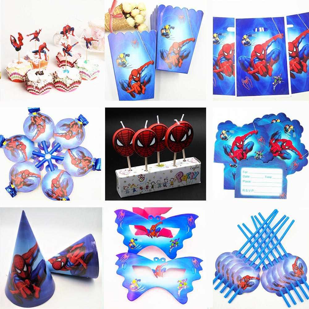 Fontes do partido de aniversário dos miúdos talheres descartáveis partido Superhero Spiderman toalha de mesa pratos de placas copo bolo do chuveiro do bebê favores